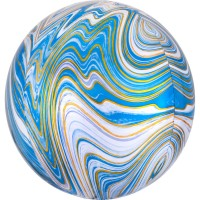 3D Сфера Мрамор Голубой с гелием
