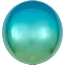 3D Сфера Омбре Зеленый и Голубой с гелием