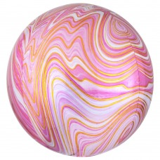 3D Сфера Мрамор Розовый с гелием