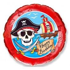 """Круг Пираты С днем рождения, 18""""/46 см"""