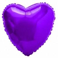 """Сердце Фиолетовое с гелием, 18""""/48 см"""