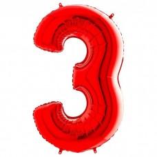 """Цифра 3 Красный, 40""""/102 см"""