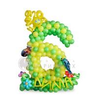 """Цифра """"6""""  из воздушных шариков"""