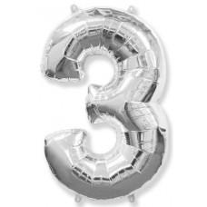 "Цифра 3 Серебро, 40""/102 см"