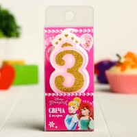 """Свеча для торта """"Цифра 3 Принцессы"""" для девочки"""