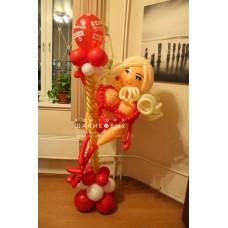 """Фигура """"Девушка на шесте"""" из шариков"""