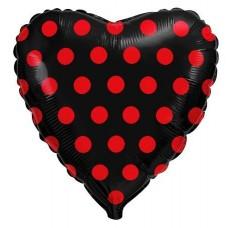 """Воздушный шар """"Сердце Красный горох"""""""