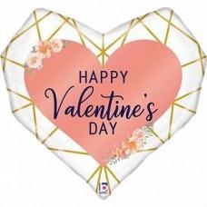 """Фольгированное сердце """"С Днем Святого Валентина!"""" Коралл"""