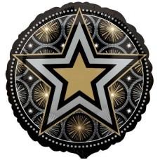 """Воздушный шар """"Черно-Золотая звезда"""""""