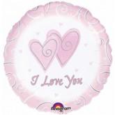 "Круг Розовый Я тебя Люблю, 18""/46 см"
