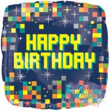 """Фольгированная фигура подушка """"Happy Birthday Пиксель"""""""