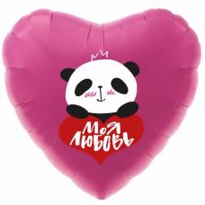 """Фольгированное сердце """"Панда Моя любовь"""""""