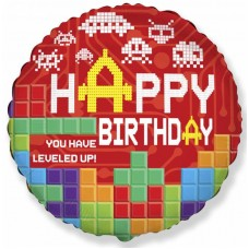 "Фольгированный круг ""Happy  Birthday"" тетрис"