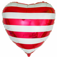 """Фольгированное сердце """"Полоски"""" Красное с гелием"""