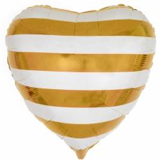 """Фольгированное сердце """"Полоски"""" Золото с гелием"""