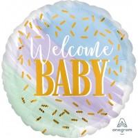 """Фольгированный круг """"Welcome Baby!"""" с гелием"""