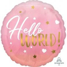 """Фольгированный круг """"Привет Мир!"""" Розовый"""