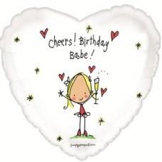 "Фольгированное Сердце ""Cheers Birthday! Baby"" Девочка с гелием"