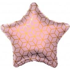 Звезда Геометрия Розовый фольгированная с гелием