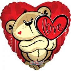 """Сердце фольгированное """"Мишка с сердцем"""" с гелием"""