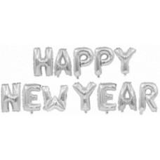 "Фольгированная надпись ""Happy New Year"" серебро"