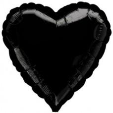 """Сердце Черное с гелием, 18""""/48 см"""