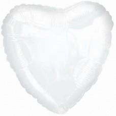 """Сердце Белое с гелием, 18""""/48 см"""
