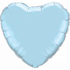 """Сердце Голубое с гелием, 18""""/45 см"""