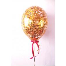 Гелиевый шар с конфетти Золото Кружки