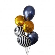 """Воздушные шары """"Золото и Полоска"""""""